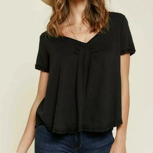 Free people black v neck tee size small